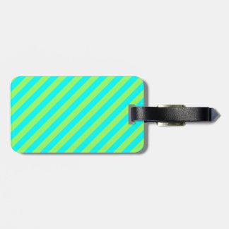 Light Green and Aqua Diagonal Stripes Travel Bag Tags