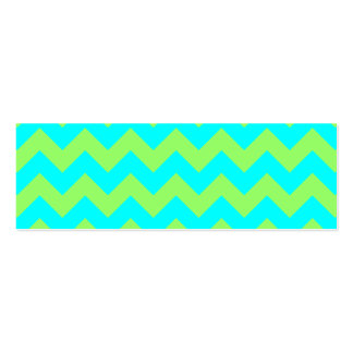 Light Green and Aqua Zigzag Double-Sided Mini Business Cards (Pack Of 20)