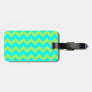 Light Green and Aqua Zigzag Tag For Luggage