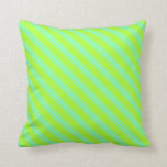 [ Thumbnail: Light Green and Aquamarine Pattern of Stripes Throw Pillow ]