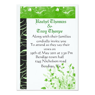 Light green and black damask card