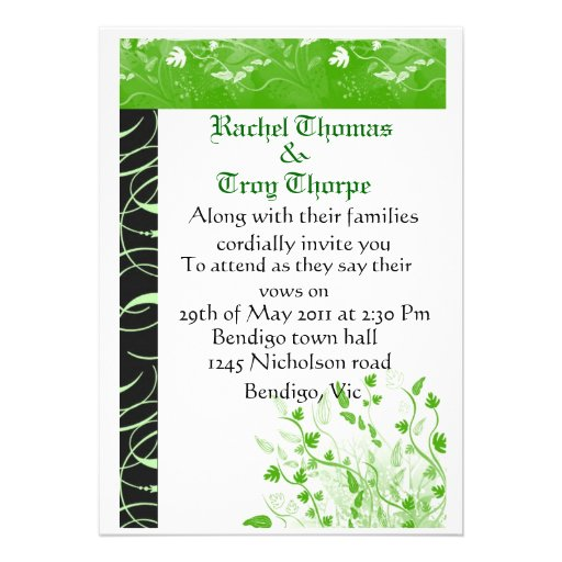 Light green and black damask personalized announcement