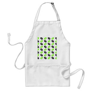 Light Green and Black Football Pattern Adult Apron
