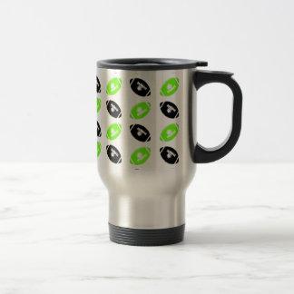 Light Green and Black Football Pattern 15 Oz Stainless Steel Travel Mug