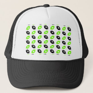 Light Green and Black Football Pattern Trucker Hat