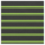 [ Thumbnail: Light Green and Black Lines/Stripes Pattern Fabric ]