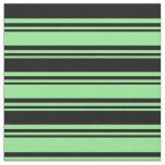 [ Thumbnail: Light Green and Black Stripes Pattern Fabric ]