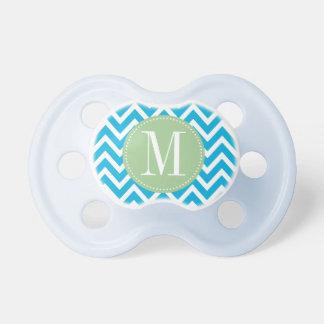 Light Green and Blue Chevron Custom Monogram Baby Pacifiers
