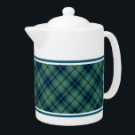 "Light Green and Blue Clan Keith Ancient Tartan Teapot<br><div class=""desc"">Teapot with the ancient family tartan for Clan Keith. Vintage Scottish plaid from 1838 in light blue and green,  with black highlights. Choose from two sizes. Matching teacups and mugs available.</div>"