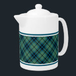 """Light Green and Blue Clan Keith Ancient Tartan Teapot<br><div class=""""desc"""">Teapot with the ancient family tartan for Clan Keith. Vintage Scottish plaid from 1838 in light blue and green,  with black highlights. Choose from two sizes. Matching teacups and mugs available.</div>"""