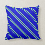 [ Thumbnail: Light Green and Blue Colored Stripes Throw Pillow ]