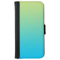 """Light Green And Blue Ombre"" Wallet Phone Case For iPhone 6/6s"