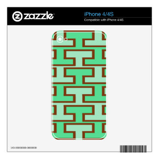 Light Green and Brown Bricks Decals For iPhone 4