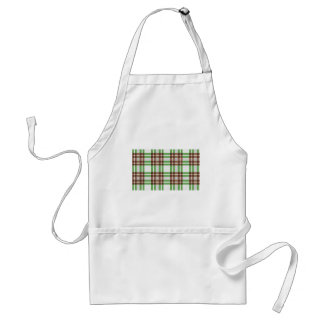 Light Green and Brown Striped Plaid Design Adult Apron