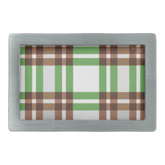 Light Green and Brown Striped Plaid Design Belt Buckle