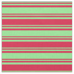 [ Thumbnail: Light Green and Crimson Colored Lines Fabric ]