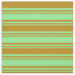 [ Thumbnail: Light Green and Dark Goldenrod Colored Pattern Fabric ]