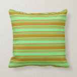 [ Thumbnail: Light Green and Dark Goldenrod Colored Pattern Throw Pillow ]