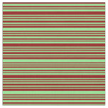 [ Thumbnail: Light Green and Dark Red Colored Stripes Pattern Fabric ]