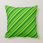 [ Thumbnail: Light Green and Green Colored Lines Pattern Pillow ]