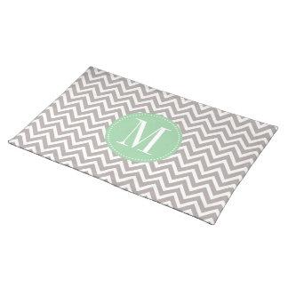 Light Green and Grey Chevron Custom Monogram Cloth Placemat