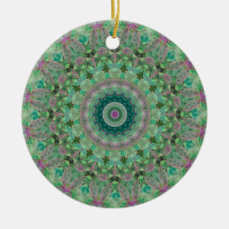 "Light Green and Lilac ""Seasons: Spring"" Mandala Double-Sided Ceramic Round Christmas Ornament"