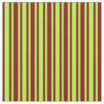 [ Thumbnail: Light Green and Maroon Colored Stripes Pattern Fabric ]