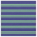 [ Thumbnail: Light Green and Midnight Blue Colored Lines Fabric ]