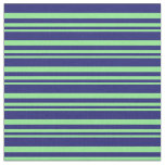 [ Thumbnail: Light Green and Midnight Blue Stripes Fabric ]