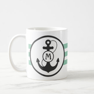 Light Green and Navy Blue Nautical Anchor Coffee Mug