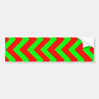 Light Green And Red Chevrons Bumper Sticker