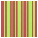 [ Thumbnail: Light Green and Red Lines Pattern Fabric ]