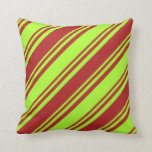 [ Thumbnail: Light Green and Red Lines Pattern Throw Pillow ]