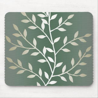 Light Green And Silver Elegant Leafy Branches Mouse Pad
