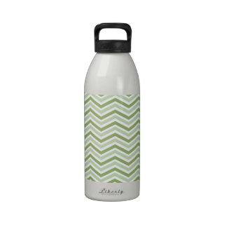 Light Green and White Chevron Stripes Drinking Bottles