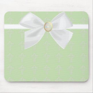 Light Green and White Mousepad