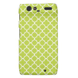 Light Green and White Quatrefoil Patterns Motorola Droid RAZR Case
