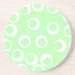 Light green and white retro pattern. beverage coaster