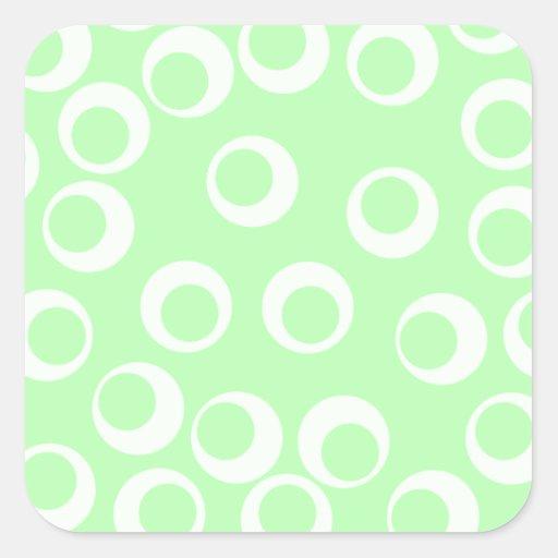 Light green and white retro pattern. square sticker