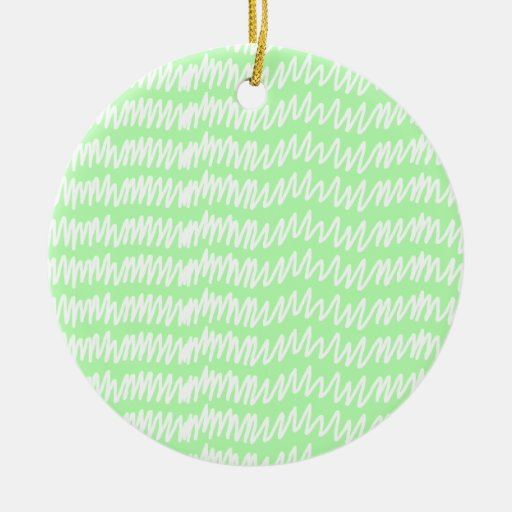 Light green and white squiggle pattern. Double-Sided ceramic round christmas ornament