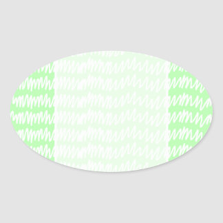 Light green and white squiggle pattern. oval sticker