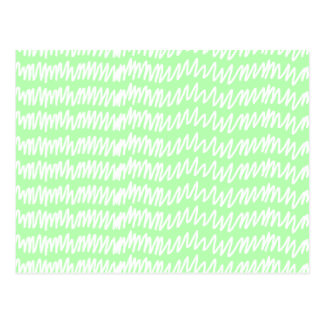 Light green and white squiggle pattern. postcard