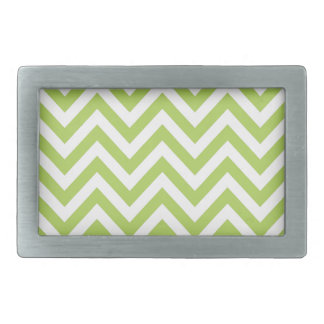 Light Green and white Striped Zigzag Pattern Belt Buckle