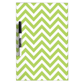 Light Green and white Striped Zigzag Pattern Dry Erase Whiteboards