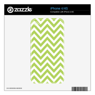 Light Green and white Striped Zigzag Pattern iPhone 4 Decals