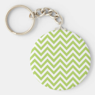 Light Green and white Striped Zigzag Pattern Keychain