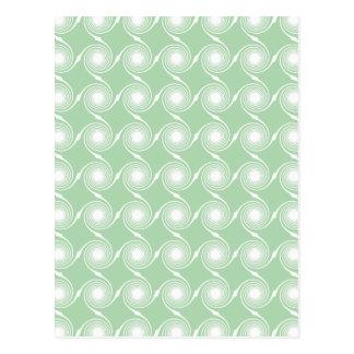 Light green and white swirl pattern. postcard