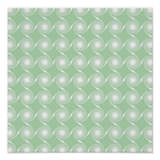 Light green and white swirl pattern. poster