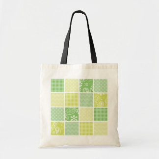 Light Green and Yellow Cute Checkered Tote Bag