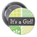 Light Green and Yellow Cute Checkered 3 Inch Round Button